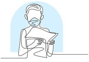 continu een lijntekening van een kind dat het boek vasthoudt. de jongen draagt een masker dat het boek leest om te leren en te studeren. studeer thuis tijdens pandemische covid-19. blijf thuis met de hand getekend ontwerpthema vector
