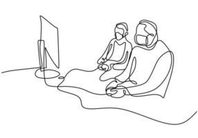 doorlopende lijntekening van gamers met beschermend gezichtsmasker. vector