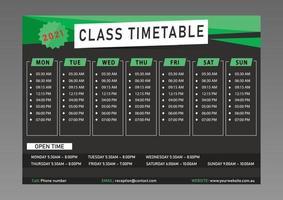klasse tijdschema ontwerpsjabloon vector