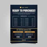 abstracte blauwe en gouden prijslijst flyer-sjabloon