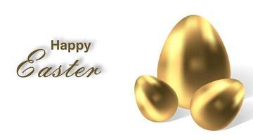 gelukkig Pasen. vectorillustratie van gouden paasei vector. christelijk religieus symbool. set van 3D-eieren geïsoleerd op een witte achtergrond. decoratieve elementen voor ontwerp vector