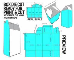 doos gestanste kubussjabloon met 3D-voorbeeld georganiseerd met knippen, vouwen, model en afmetingen klaar om te snijden en af te drukken, op volledige schaal en volledig functioneel. voorbereid voor echt karton vector