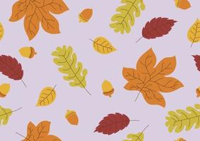 naadloze patroon van herfstbladeren en eikel vallen achtergrond vectorillustratie