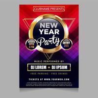 Nieuwjaarsfeest poster uitnodiging met gloeiend sprankelend themaontwerp vector
