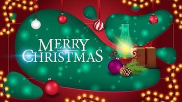 vrolijk kerstfeest, ansichtkaart in papierstijl met cadeau, antieke lamp, kerstboomtak, kegel, kerstbal vector