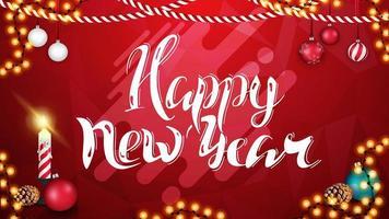 gelukkig nieuwjaar, rode heldere horizontale wenskaart met kerstkaars, slinger en kerstballen vector