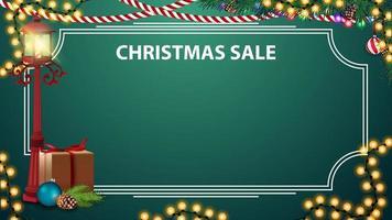 kerstuitverkoop, groene kortingssjabloon voor uw kunsten met plaats voor tekst