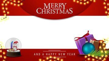 vrolijk kerstfeest, rood en wit sjabloon voor uw kunsten met cadeautjes en sneeuwbol met sneeuwmannen erin