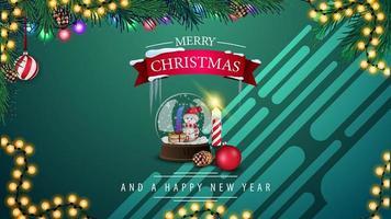 prettige kerstdagen en gelukkig nieuwjaar, groene horizontale ansichtkaart met sneeuwbol, slinger en kerstboomtak vector