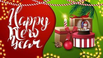 gelukkig nieuwjaar, groet rode en groene briefkaart in materiaalontwerpstijl met kerstcadeaus