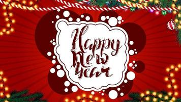 gelukkig nieuwjaar, rode briefkaart voor je creativiteit in graffitistijl met kerstdecor