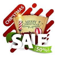 kerstuitverkoop, tot 50 korting, korting pop-up voor website met grote letters, groen lint, kerstkaars, oud perkament, kerstbal en kegel vector
