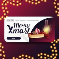 vrolijk kerstfeest, horizontale wenskaart met antieke lamp, kerstboek, kerstbal en kegel vector