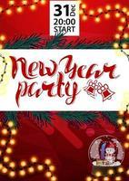 nieuwjaarsfeest, rode poster voor je kunsten met sneeuwbol, oranje slinger en kerstboomtakken vector