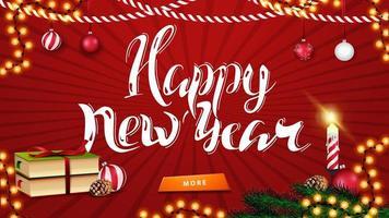 gelukkig nieuwjaar, rode horizontale wenskaart met prachtige letters, kerstdecor, boeken, kerstbal en kegel
