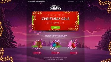 kerst verkoop website ontwerpsjabloon met sparren, sneeuw en paarse lucht op de achtergrond