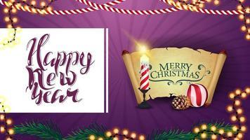 gelukkig nieuwjaar, paarse briefkaart voor uw creativiteit met kerstkaars, oud perkament, kerstbal en kegel