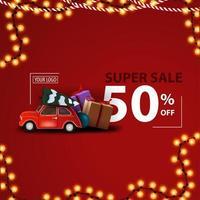 Kerst super verkoop, tot 50 korting, rode moderne kortingsbanner met rode vintage auto met kerstboom en cadeautjes
