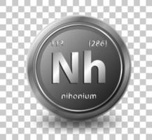 nihonium scheikundig element. chemisch symbool met atoomnummer en atoommassa. vector