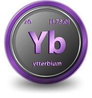 ytterbium scheikundig element. chemisch symbool met atoomnummer en atoommassa.