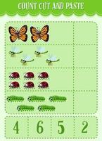 rekenwerkblad voor kinderen tellen, knippen en plakken