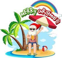 kerstman op het strandeiland voor zomerkerstmis