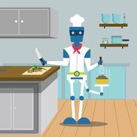 Een robotchef-kok vector