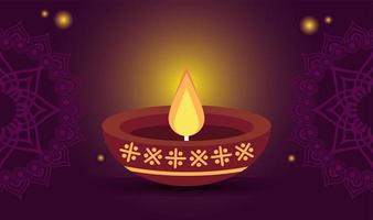 gelukkige diwali-viering met kaars op purpere achtergrond vector