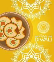 gelukkige diwali-viering met voedsel en mandala's op gele achtergrond vector