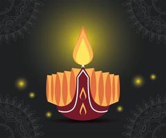 gelukkige diwali-viering met kaars en lichten vector
