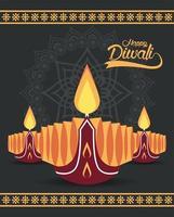 gelukkige diwali-viering met drie kaarsen vector