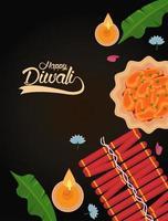 gelukkige diwali-viering met twee kaarsen en vuurwerk vector