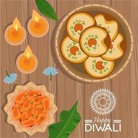 gelukkige diwali-viering met drie kaarsen en voedsel vector