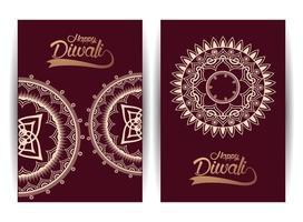 gelukkige diwali-viering met gouden mandala's en belettering vector