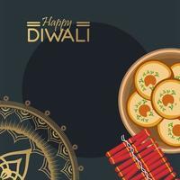 gelukkige diwali-viering met voedsel en gouden mandala vector