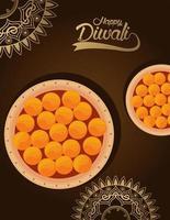 gelukkige diwali-viering met voedsel en mandala's op bruine achtergrond vector