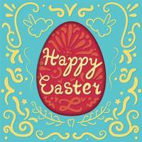vintage happy easter belettering in ei met konijnen vector