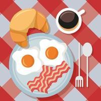 schattig ontbijttafel bovenaanzicht vector