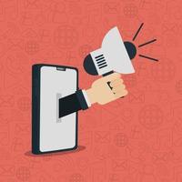 sociale netwerkmedia plat ontwerp met smartphone vector