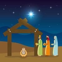 openbaring van jezus met magiërs die cadeautjes brengen vector