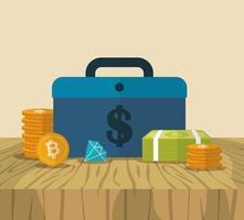 cryptocurrency en dollar financiën iconen ontwerp