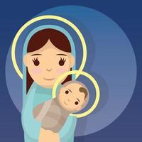 schattige mary en baby jezus vector
