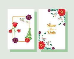 bewaar de datum bloemen bruiloft kaartenset vector