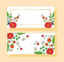 bewaar de datum bloemen bruiloft banner set vector