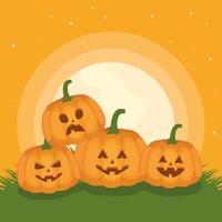 gelukkige halloween-kaart met pompoenen vector