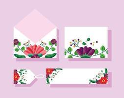 bewaar de datum bloemen bruiloft set vector