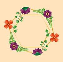 bewaar de datum bloemenhuwelijkskaart vector