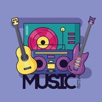 schattig muziekontwerp met poppictogrammen