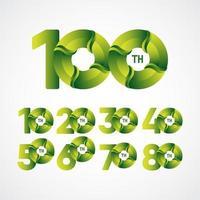 100ste verjaardag vieringen vector sjabloonontwerp illustratie