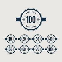 100 jaar verjaardag vieringen retro cirkel sjabloon ontwerp vectorillustratie